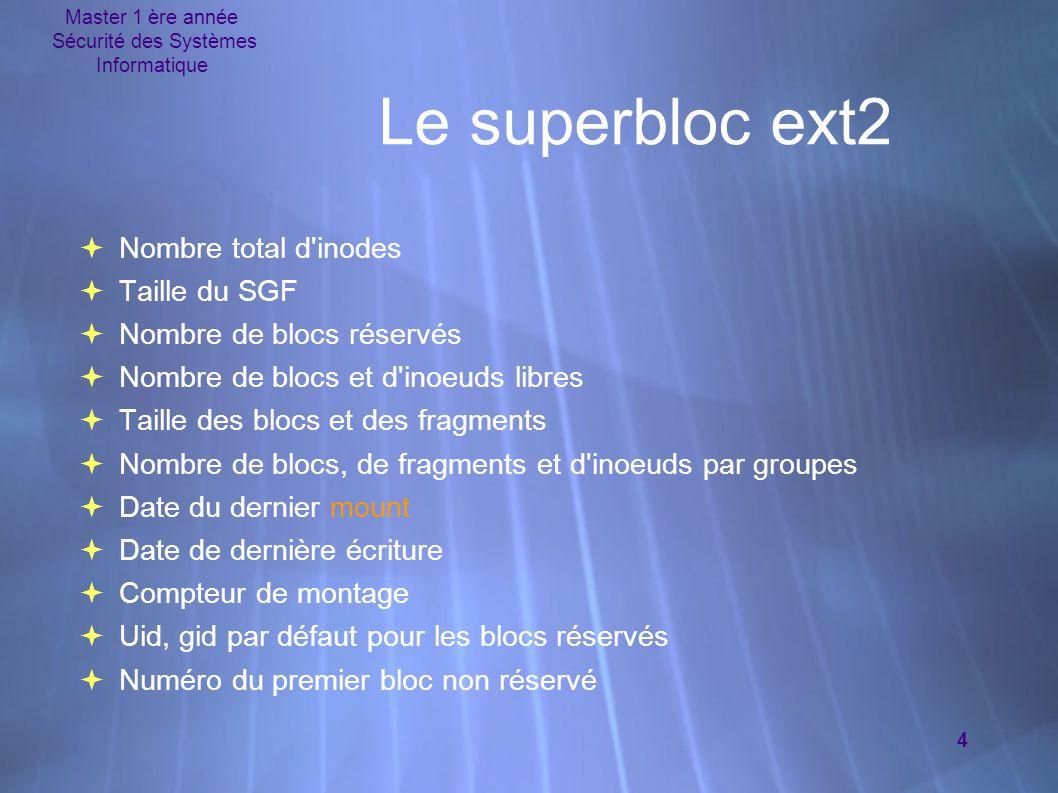Master 1 ère année Sécurité des Systèmes Informatique 4 Le superbloc ext2  Nombre total d'inodes  Taille du SGF  Nombre de blocs réservés  Nombre