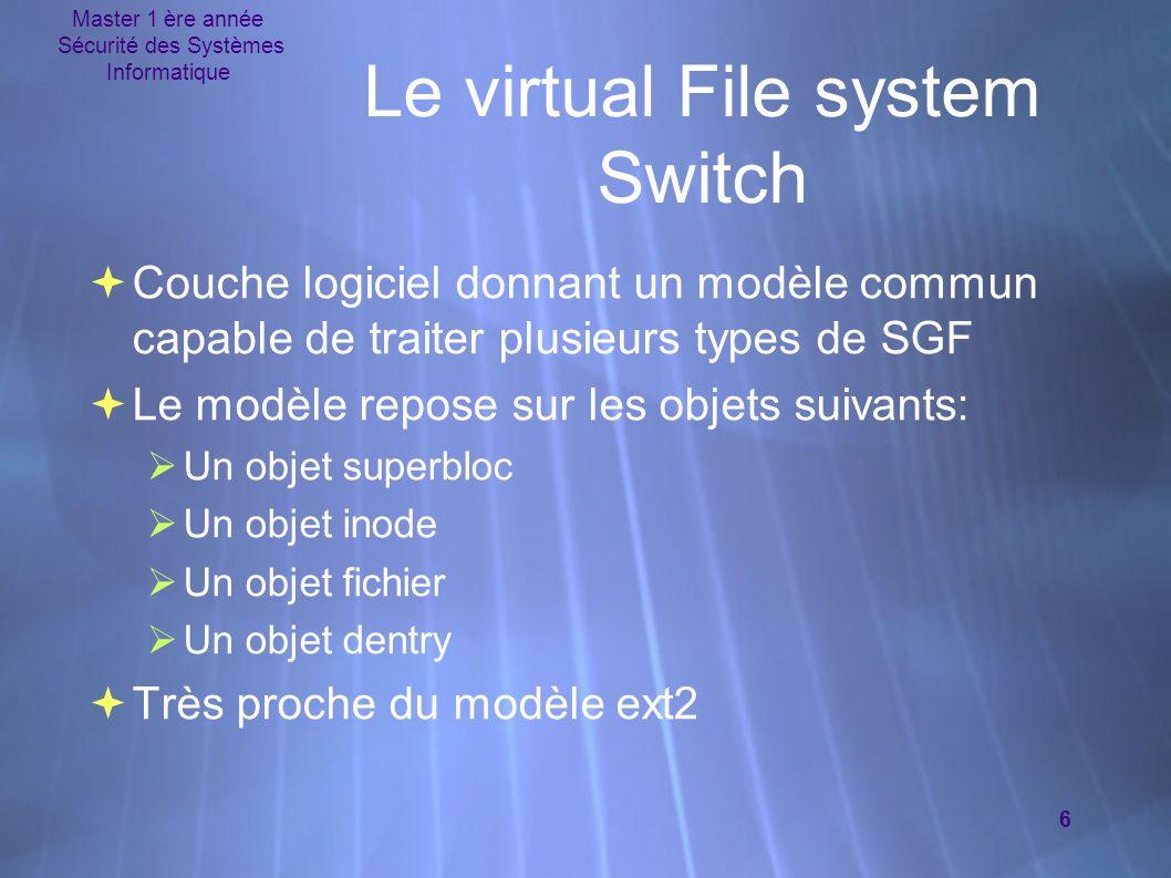 Master 1 ère année Sécurité des Systèmes Informatique 6 Le virtual File system Switch  Couche logiciel donnant un modèle commun capable de traiter pl
