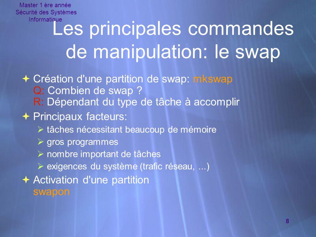 Master 1 ère année Sécurité des Systèmes Informatique 8  Création d'une partition de swap: mkswap Q: Combien de swap ? R: Dépendant du type de tâche