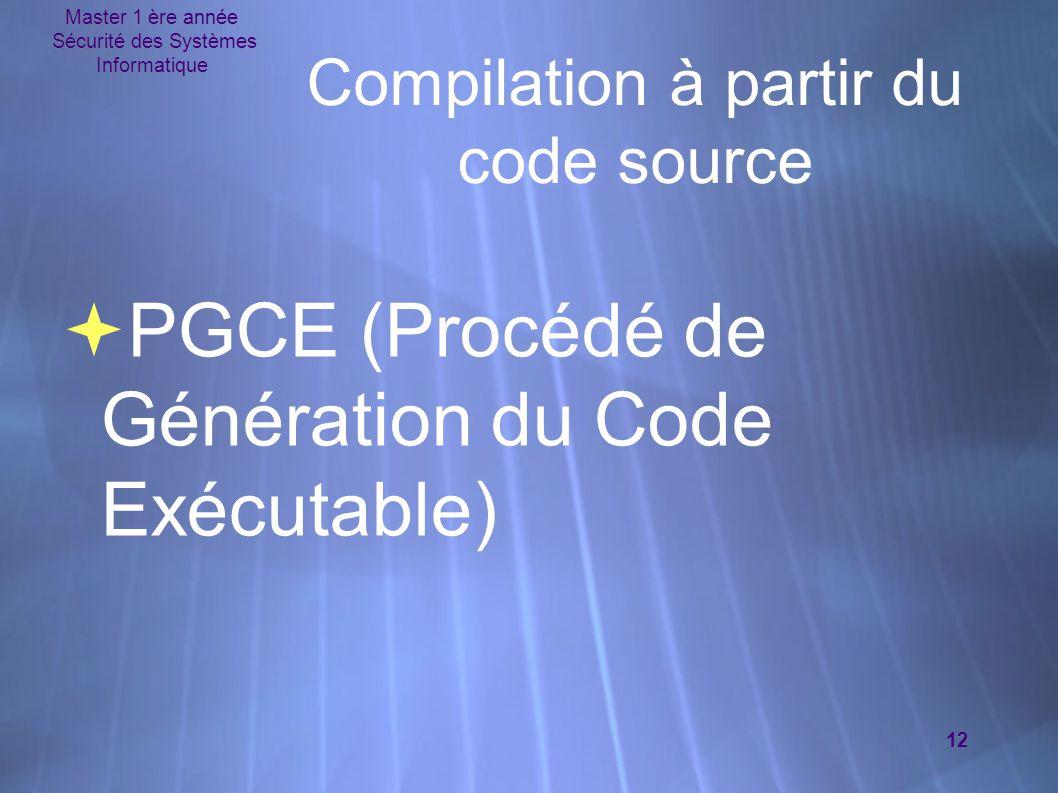 Master 1 ère année Sécurité des Systèmes Informatique 12 Compilation à partir du code source  PGCE (Procédé de Génération du Code Exécutable)