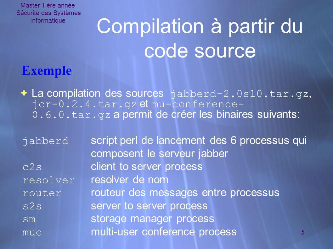 Master 1 ère année Sécurité des Systèmes Informatique 5 Compilation à partir du code source  La compilation des sources jabberd-2.0s10.tar.gz, jcr-0.2.4.tar.gz et mu-conference- 0.6.0.tar.gz a permit de créer les binaires suivants: jabberd script perl de lancement des 6 processus qui composent le serveur jabber c2s client to server process resolver resolver de nom router routeur des messages entre processus s2s server to server process sm storage manager process muc multi-user conference process  La compilation des sources jabberd-2.0s10.tar.gz, jcr-0.2.4.tar.gz et mu-conference- 0.6.0.tar.gz a permit de créer les binaires suivants: jabberd script perl de lancement des 6 processus qui composent le serveur jabber c2s client to server process resolver resolver de nom router routeur des messages entre processus s2s server to server process sm storage manager process muc multi-user conference process Exemple