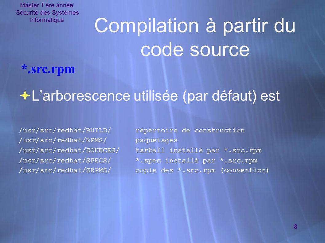 Master 1 ère année Sécurité des Systèmes Informatique 8 Compilation à partir du code source  L'arborescence utilisée (par défaut) est /usr/src/redhat/BUILD/répertoire de construction /usr/src/redhat/RPMS/paquetages /usr/src/redhat/SOURCES/tarball installé par *.src.rpm /usr/src/redhat/SPECS/*.spec installé par *.src.rpm /usr/src/redhat/SRPMS/copie des *.src.rpm (convention)  L'arborescence utilisée (par défaut) est /usr/src/redhat/BUILD/répertoire de construction /usr/src/redhat/RPMS/paquetages /usr/src/redhat/SOURCES/tarball installé par *.src.rpm /usr/src/redhat/SPECS/*.spec installé par *.src.rpm /usr/src/redhat/SRPMS/copie des *.src.rpm (convention) *.src.rpm