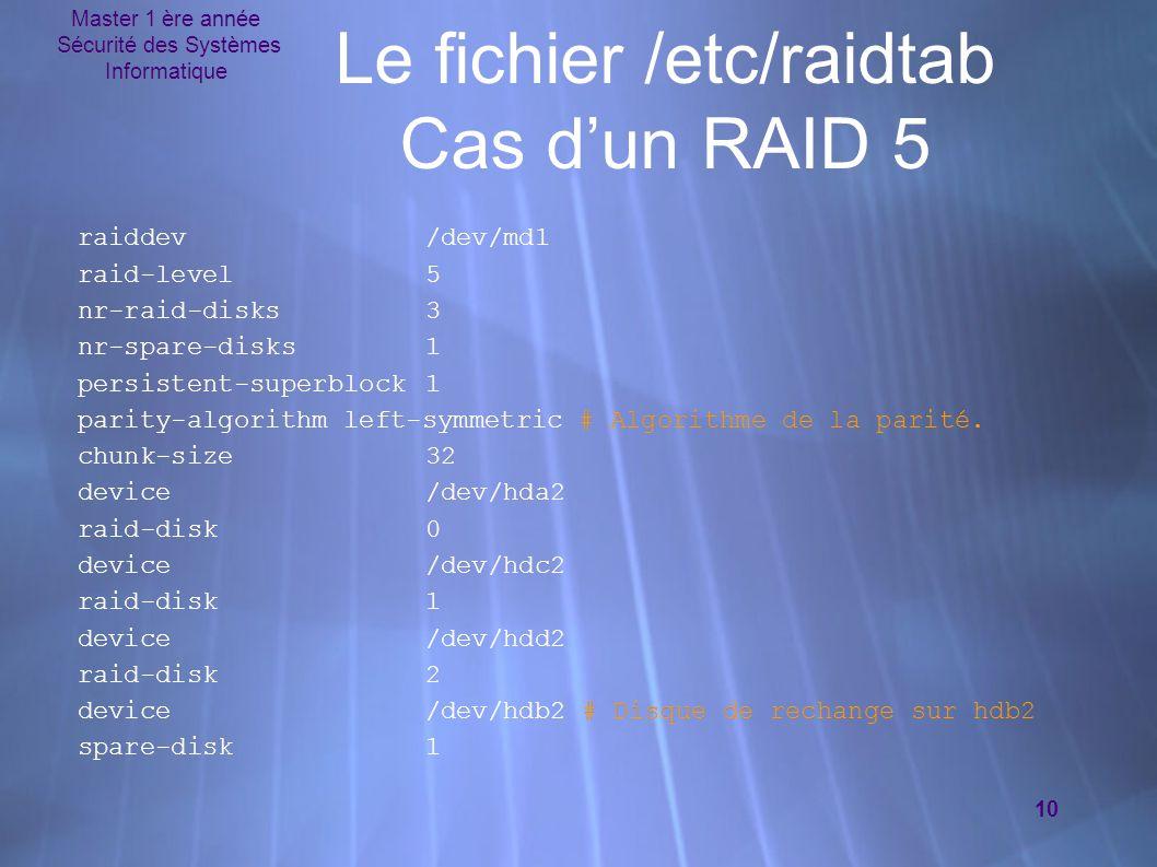 Master 1 ère année Sécurité des Systèmes Informatique 10 Le fichier /etc/raidtab Cas d'un RAID 5 raiddev/dev/md1 raid-level5 nr-raid-disks3 nr-spare-d
