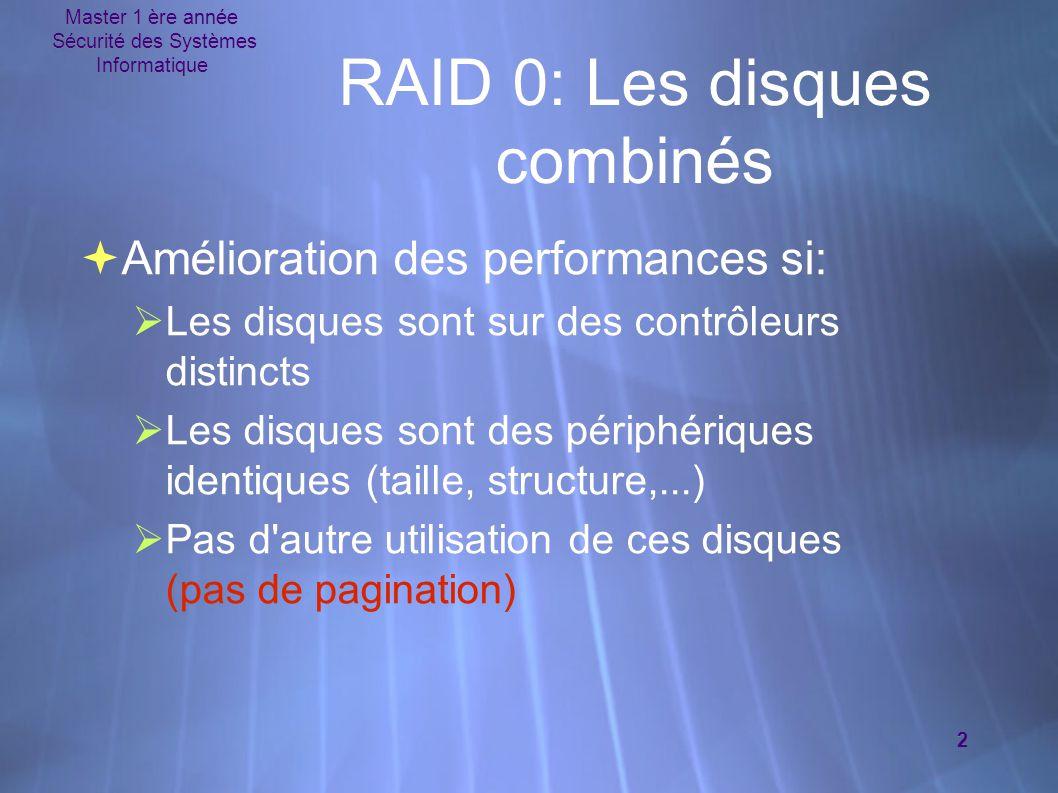 Master 1 ère année Sécurité des Systèmes Informatique 2 RAID 0: Les disques combinés  Amélioration des performances si:  Les disques sont sur des co