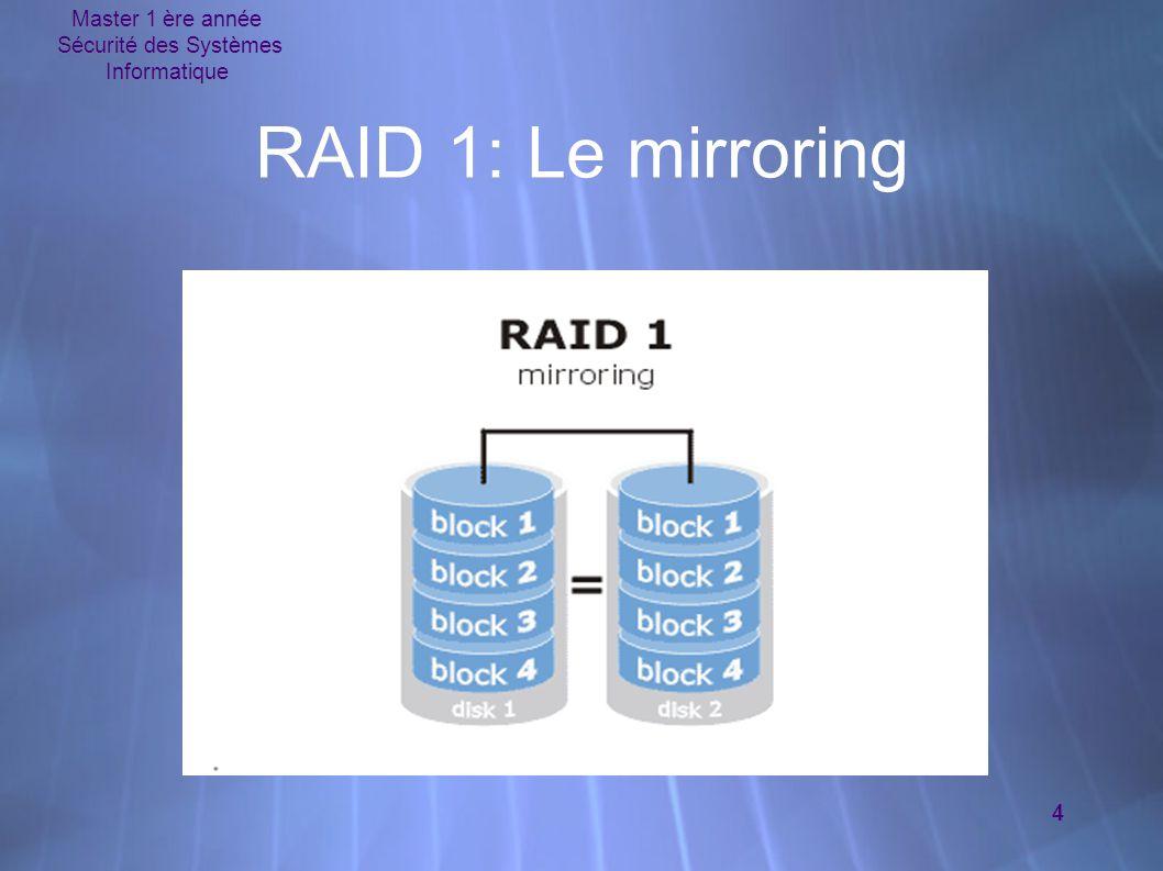 Master 1 ère année Sécurité des Systèmes Informatique 5 RAID 2 à 5  RAID 2  contrôle grâce à un code de Hamming  Obsolète car déjà intégré dans le contrôleur  RAID 3  Stockage bit par bit avec un bit de parité sur un disque indépendant  Données reconstituées grâce au bit de parité  RAID 4  Similaire à RAID 3 sauf que la parité est faite par secteur  RAID 5  La parité est cette fois répartie sur tous les disques  RAID 2  contrôle grâce à un code de Hamming  Obsolète car déjà intégré dans le contrôleur  RAID 3  Stockage bit par bit avec un bit de parité sur un disque indépendant  Données reconstituées grâce au bit de parité  RAID 4  Similaire à RAID 3 sauf que la parité est faite par secteur  RAID 5  La parité est cette fois répartie sur tous les disques