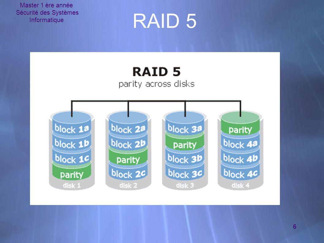 Master 1 ère année Sécurité des Systèmes Informatique 17 Exemple RAID # mkdir /mnt/raid # mount /dev/md0 /mnt/raid # cd / # find.