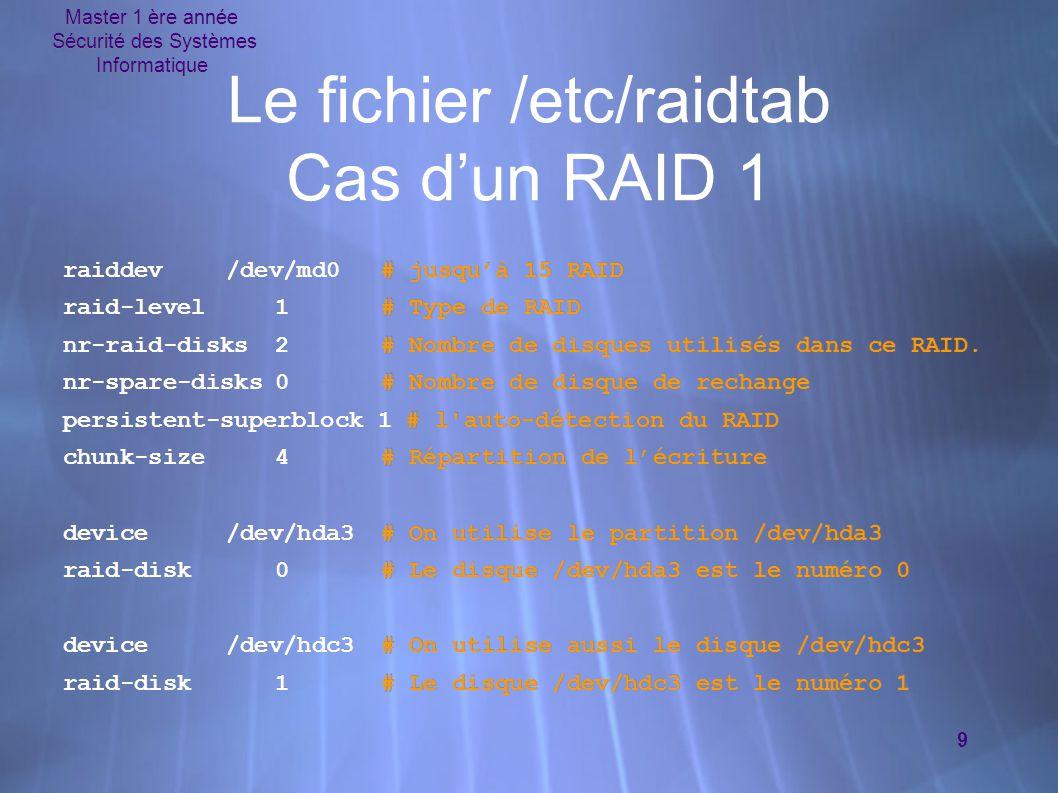 Master 1 ère année Sécurité des Systèmes Informatique 10 Le fichier /etc/raidtab Cas d'un RAID 5 raiddev/dev/md1 raid-level5 nr-raid-disks3 nr-spare-disks1 persistent-superblock1 parity-algorithm left-symmetric # Algorithme de la parité.