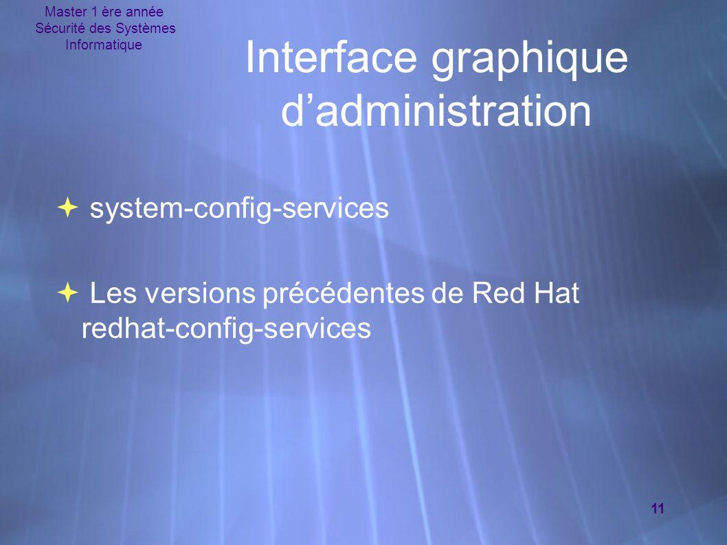 Master 1 ère année Sécurité des Systèmes Informatique 11 Interface graphique d'administration  system-config-services  Les versions précédentes de Red Hat redhat-config-services