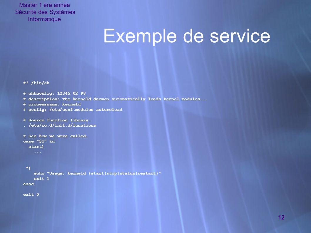 Master 1 ère année Sécurité des Systèmes Informatique 12 Exemple de service #.