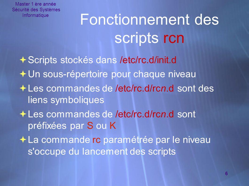 Master 1 ère année Sécurité des Systèmes Informatique 6 Fonctionnement des scripts rcn  Scripts stockés dans /etc/rc.d/init.d  Un sous-répertoire pour chaque niveau  Les commandes de /etc/rc.d/rcn.d sont des liens symboliques  Les commandes de /etc/rc.d/rcn.d sont préfixées par S ou K  La commande rc paramétrée par le niveau s occupe du lancement des scripts