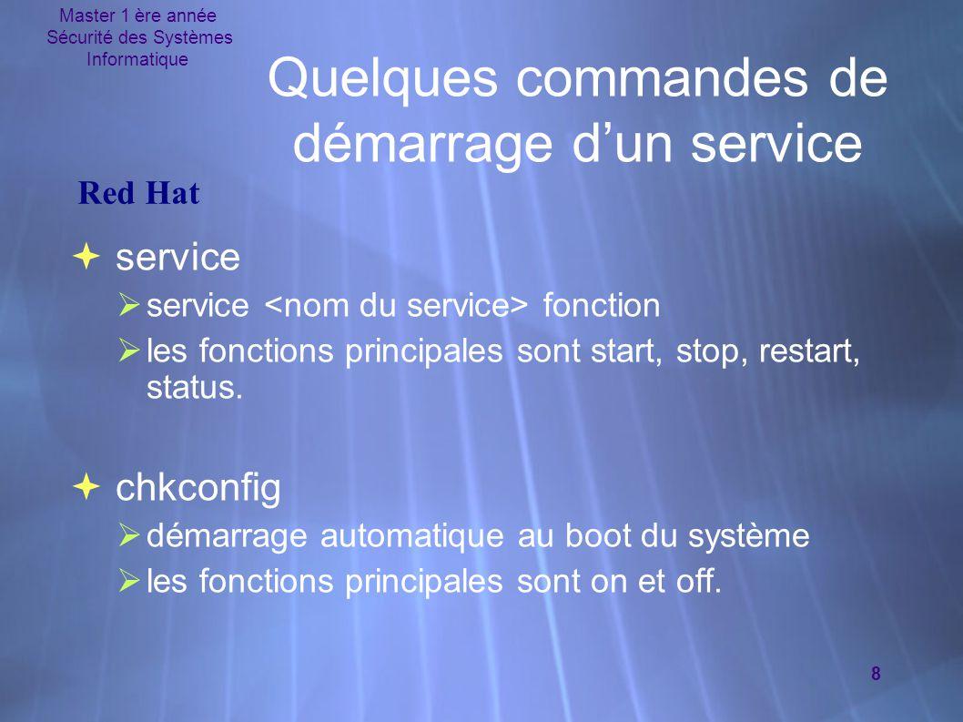 Master 1 ère année Sécurité des Systèmes Informatique 8 Quelques commandes de démarrage d'un service  service  service fonction  les fonctions principales sont start, stop, restart, status.