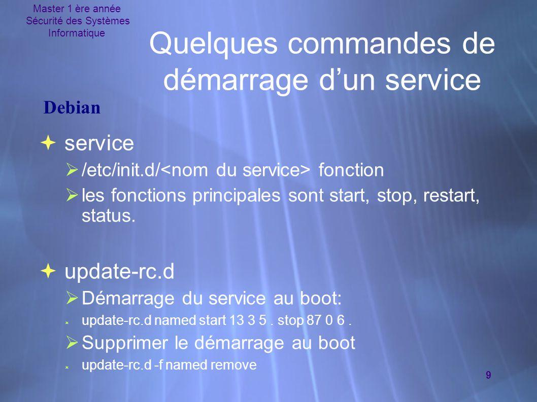 Master 1 ère année Sécurité des Systèmes Informatique 9 Quelques commandes de démarrage d'un service  service  /etc/init.d/ fonction  les fonctions principales sont start, stop, restart, status.