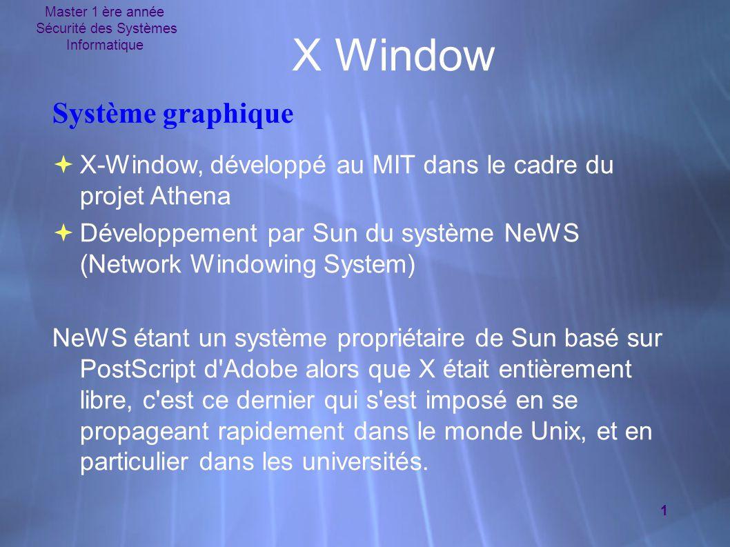 Master 1 ère année Sécurité des Systèmes Informatique 1 X Window Système graphique  X-Window, développé au MIT dans le cadre du projet Athena  Développement par Sun du système NeWS (Network Windowing System) NeWS étant un système propriétaire de Sun basé sur PostScript d Adobe alors que X était entièrement libre, c est ce dernier qui s est imposé en se propageant rapidement dans le monde Unix, et en particulier dans les universités.