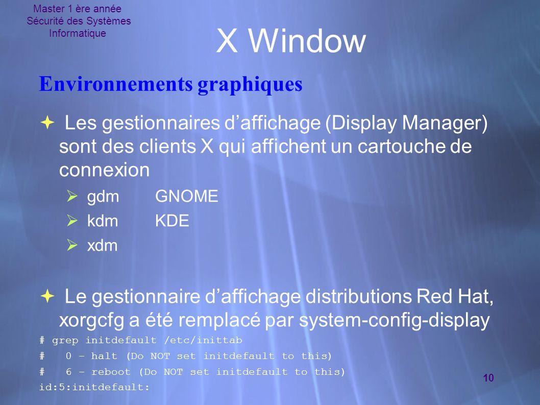 Master 1 ère année Sécurité des Systèmes Informatique 10 X Window Environnements graphiques  Les gestionnaires d'affichage (Display Manager) sont des clients X qui affichent un cartouche de connexion  gdmGNOME  kdmKDE  xdm  Le gestionnaire d'affichage distributions Red Hat, xorgcfg a été remplacé par system-config-display # grep initdefault /etc/inittab # 0 - halt (Do NOT set initdefault to this) # 6 - reboot (Do NOT set initdefault to this) id:5:initdefault:  Les gestionnaires d'affichage (Display Manager) sont des clients X qui affichent un cartouche de connexion  gdmGNOME  kdmKDE  xdm  Le gestionnaire d'affichage distributions Red Hat, xorgcfg a été remplacé par system-config-display # grep initdefault /etc/inittab # 0 - halt (Do NOT set initdefault to this) # 6 - reboot (Do NOT set initdefault to this) id:5:initdefault: