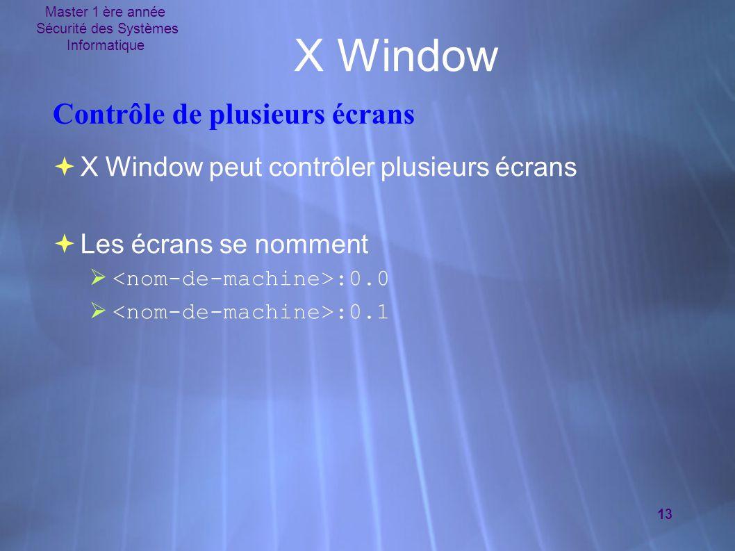 Master 1 ère année Sécurité des Systèmes Informatique 13 X Window Contrôle de plusieurs écrans  X Window peut contrôler plusieurs écrans  Les écrans se nomment  :0.0  :0.1  X Window peut contrôler plusieurs écrans  Les écrans se nomment  :0.0  :0.1