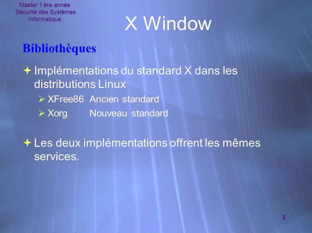 Master 1 ère année Sécurité des Systèmes Informatique 5 X Window Bibliothèques  Implémentations du standard X dans les distributions Linux  XFree86Ancien standard  XorgNouveau standard  Les deux implémentations offrent les mêmes services.