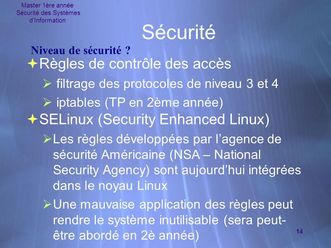 Master 1ère année Sécurité des Systèmes d'Information 14 Sécurité  Règles de contrôle des accès  filtrage des protocoles de niveau 3 et 4  iptables