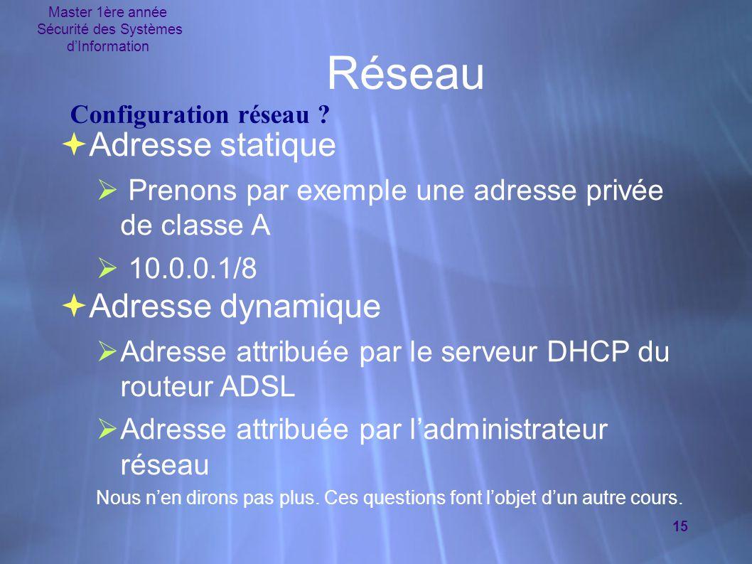 Master 1ère année Sécurité des Systèmes d'Information 15 Réseau  Adresse statique  Prenons par exemple une adresse privée de classe A  10.0.0.1/8 