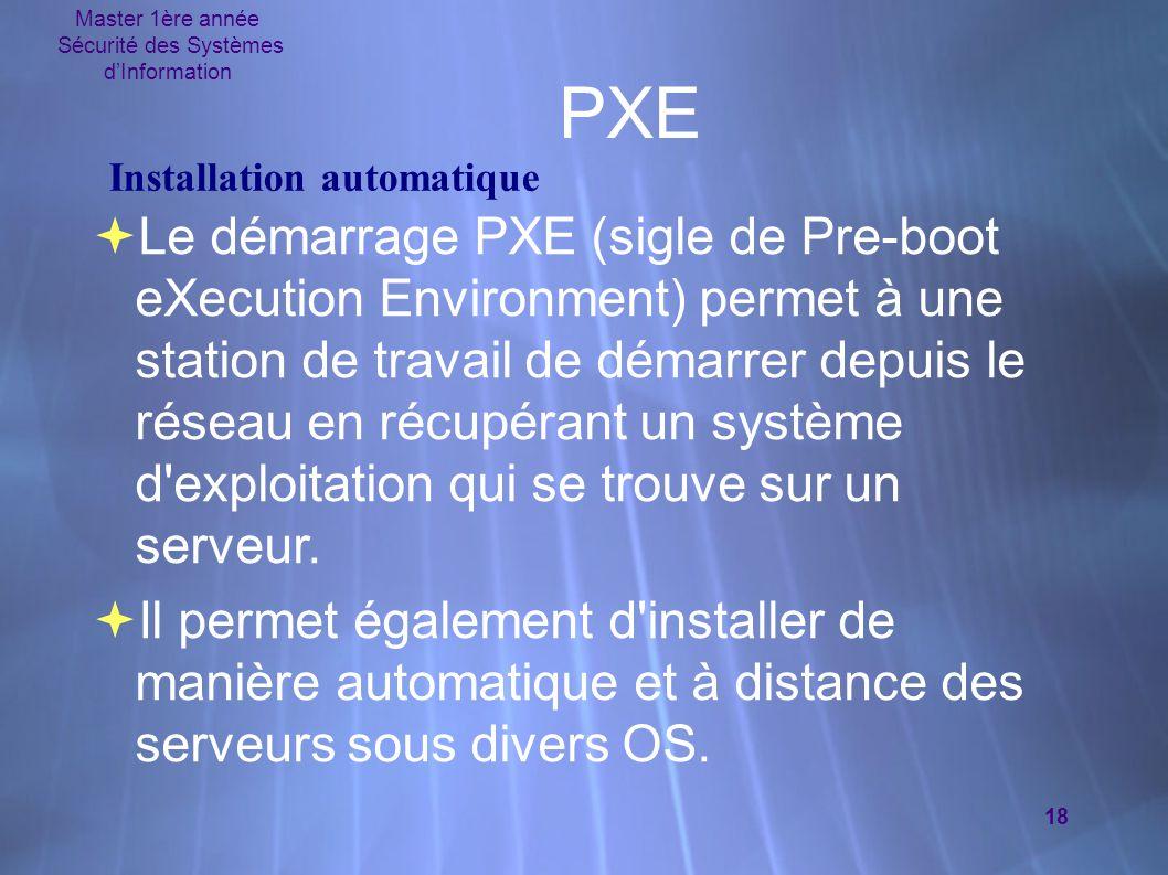 Master 1ère année Sécurité des Systèmes d'Information 18 PXE  Le démarrage PXE (sigle de Pre-boot eXecution Environment) permet à une station de trav