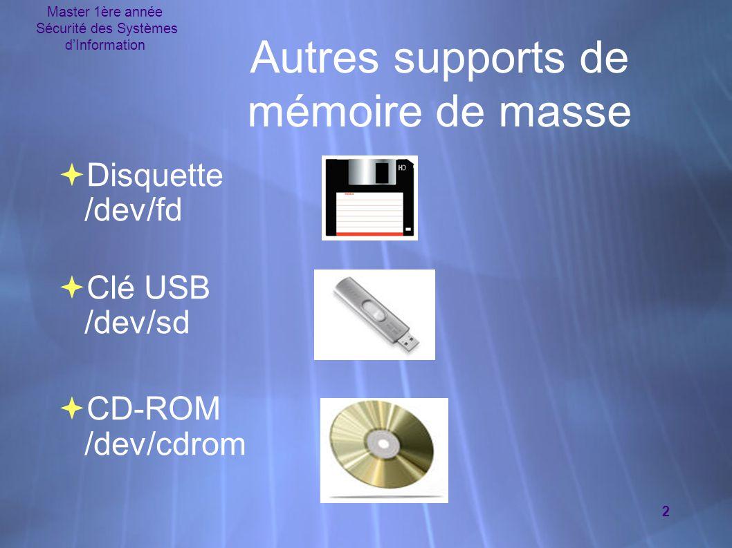 Master 1ère année Sécurité des Systèmes d'Information 2 Autres supports de mémoire de masse  Disquette /dev/fd  Clé USB /dev/sd  CD-ROM /dev/cdrom