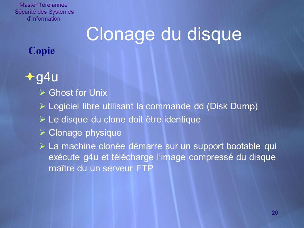 Master 1ère année Sécurité des Systèmes d'Information 20 Clonage du disque  g4u  Ghost for Unix  Logiciel libre utilisant la commande dd (Disk Dump