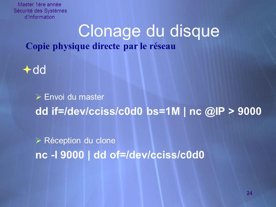 Master 1ère année Sécurité des Systèmes d'Information 24 Clonage du disque  dd  Envoi du master dd if=/dev/cciss/c0d0 bs=1M | nc @IP > 9000  Récept