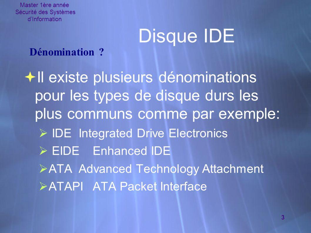 Master 1ère année Sécurité des Systèmes d'Information 3 Disque IDE  Il existe plusieurs dénominations pour les types de disque durs les plus communs