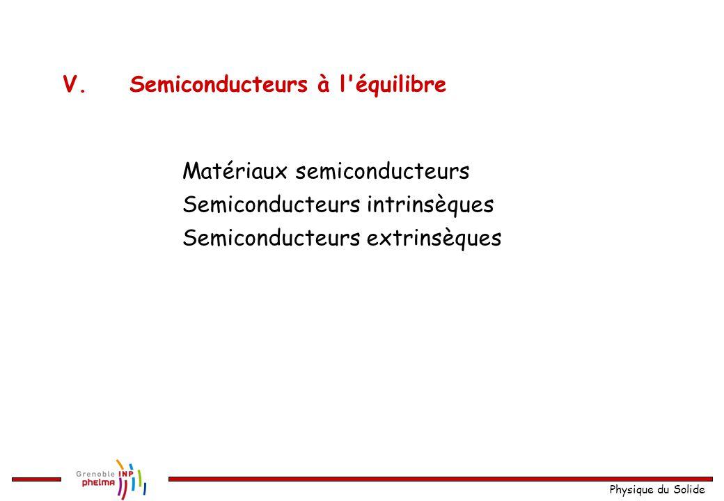 Physique du Solide V.Semiconducteurs à l'équilibre Matériaux semiconducteurs Semiconducteurs intrinsèques Semiconducteurs extrinsèques