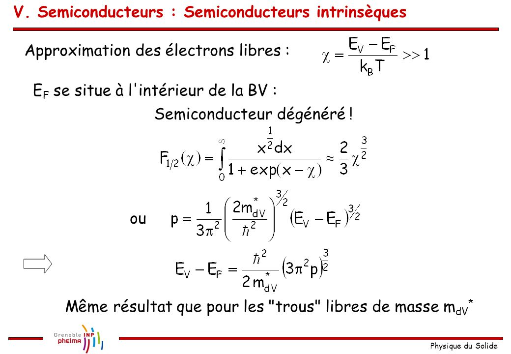 Physique du Solide Approximation des électrons libres : E F se situe à l'intérieur de la BV : Semiconducteur dégénéré ! ou Même résultat que pour les