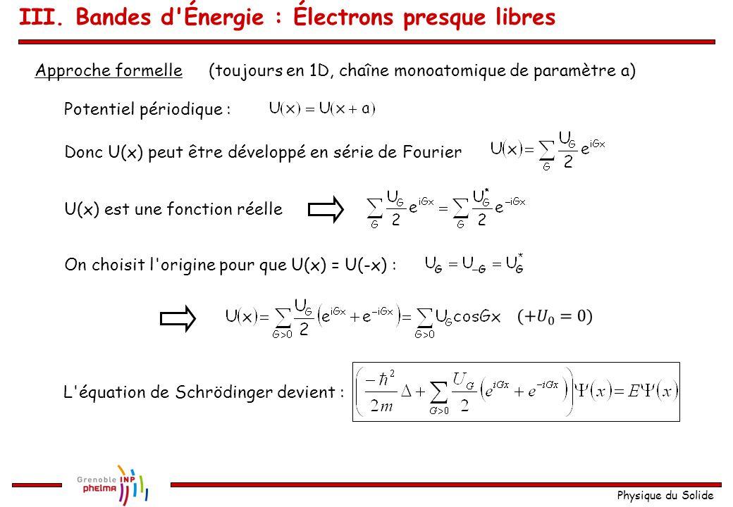 Physique du Solide Dans le cas d'un réseau cfc III. Bandes d'Énergie : Zones de Brillouin