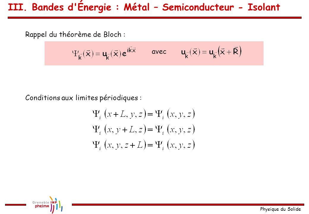 Physique du Solide Métal - Semiconducteur - Isolant : Structures de Bandes réelles Question préliminaire : Quel est le nombre d états électroniques dans une bande .