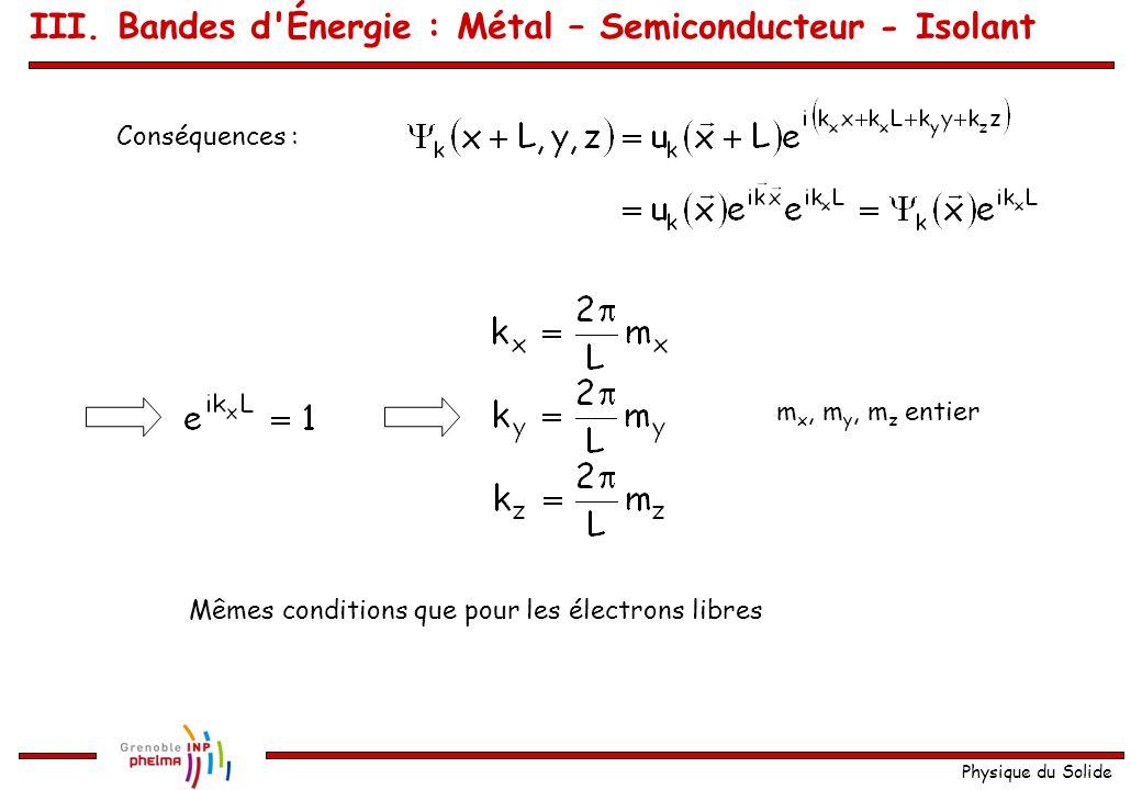 Physique du Solide avec Rappel du théorème de Bloch : Conditions aux limites périodiques : III. Bandes d'Énergie : Métal – Semiconducteur - Isolant