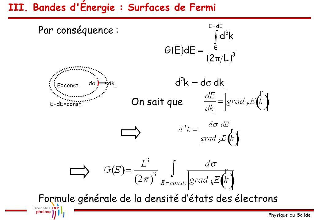Physique du Solide Expression générale de la densité d'états g(E) G (E) dE est le nombre discrets de valeurs de k qui se trouvent entre les surfaces correspondantes à E = const.