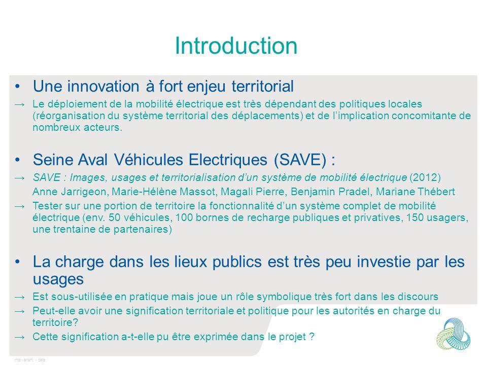Intervenant - date Introduction Une innovation à fort enjeu territorial →Le déploiement de la mobilité électrique est très dépendant des politiques lo