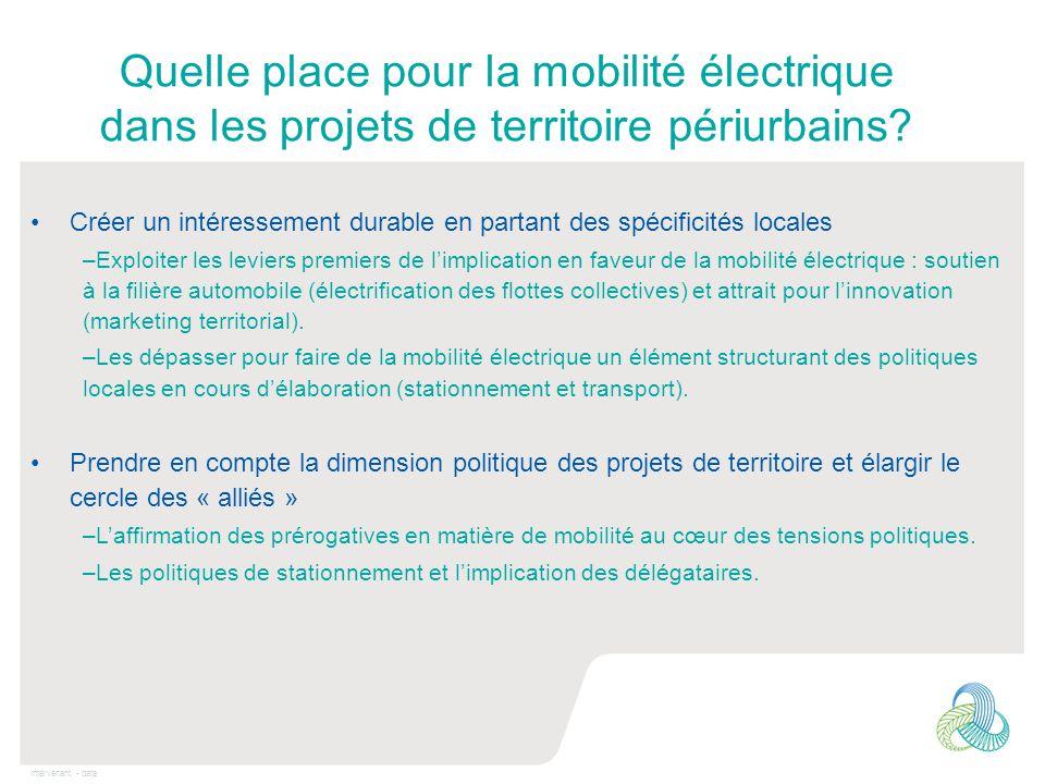 Intervenant - date Quelle place pour la mobilité électrique dans les projets de territoire périurbains? Créer un intéressement durable en partant des