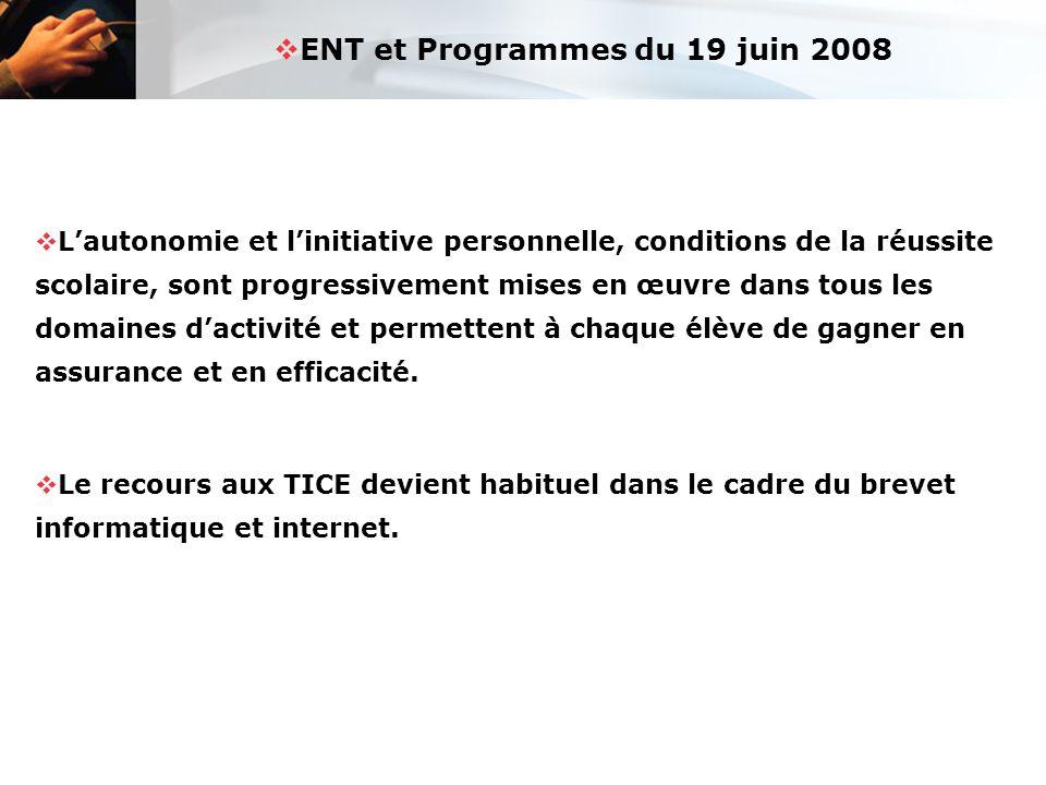  ENT et Programmes du 19 juin 2008  L'autonomie et l'initiative personnelle, conditions de la réussite scolaire, sont progressivement mises en œuvre