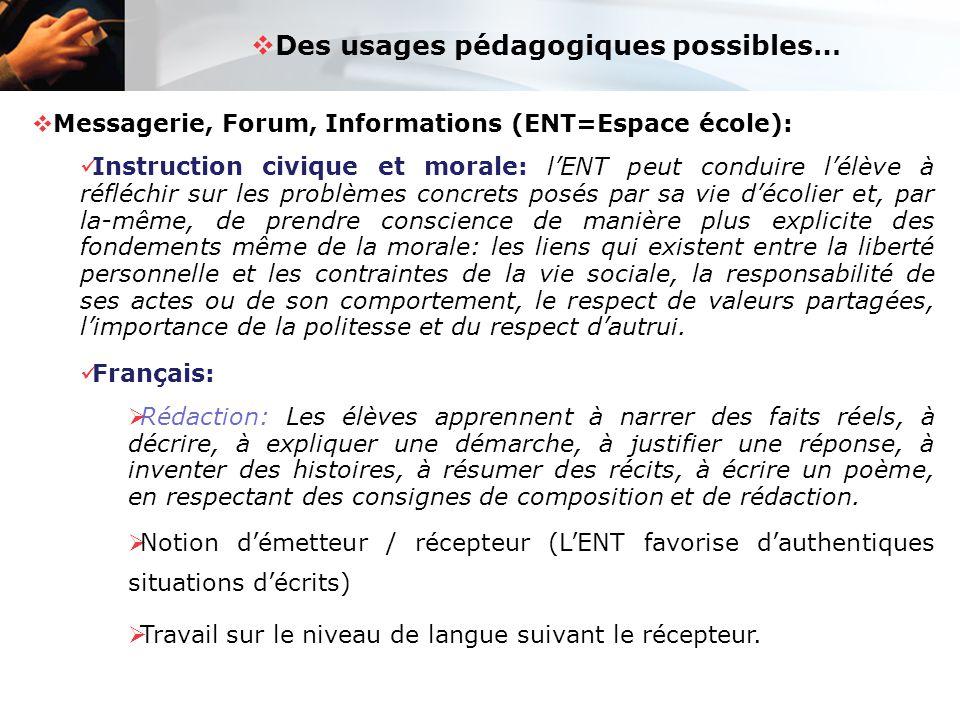  Des usages pédagogiques possibles…  Messagerie, Forum, Informations (ENT=Espace école): Instruction civique et morale: l'ENT peut conduire l'élève