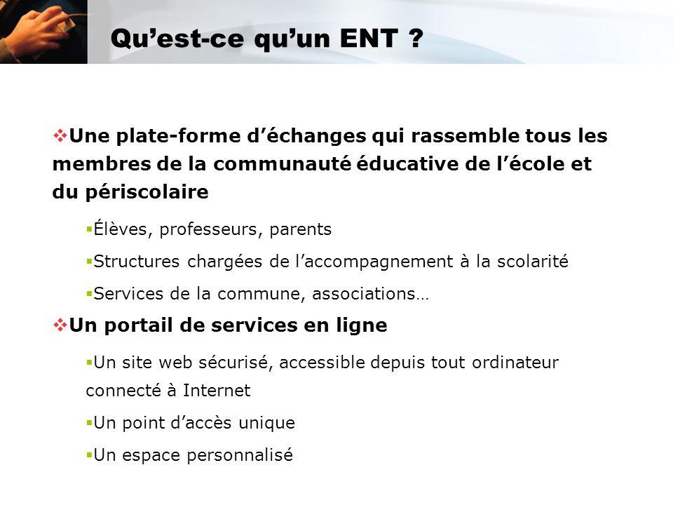 Qu'est-ce qu'un ENT ?  Une plate-forme d'échanges qui rassemble tous les membres de la communauté éducative de l'école et du périscolaire  Élèves, p