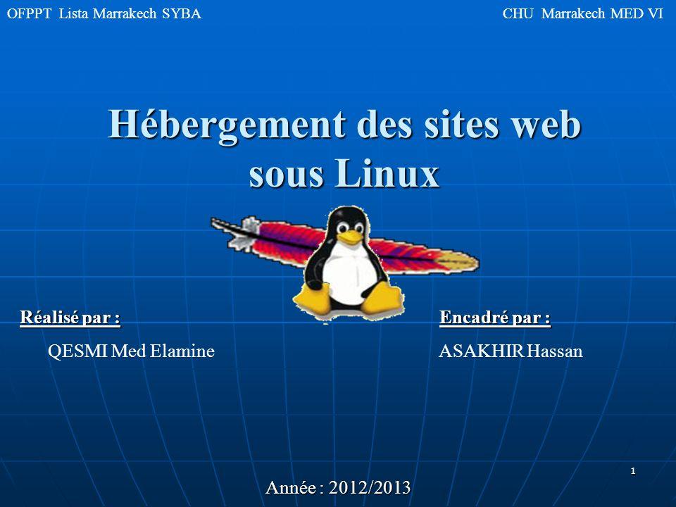 Hébergement des sites web sous Linux OFPPT Lista Marrakech SYBA CHU Marrakech MED VI Réalisé par : Encadré par : QESMI Med Elamine ASAKHIR Hassan Année : 2012/2013 1