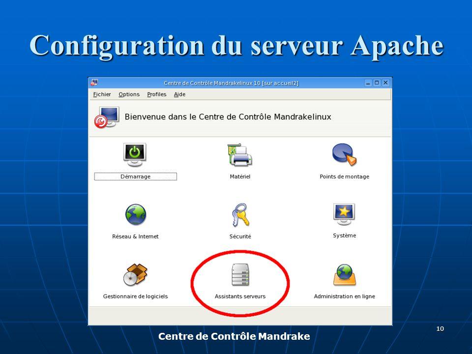 Configuration du serveur Apache Centre de Contrôle Mandrake 10