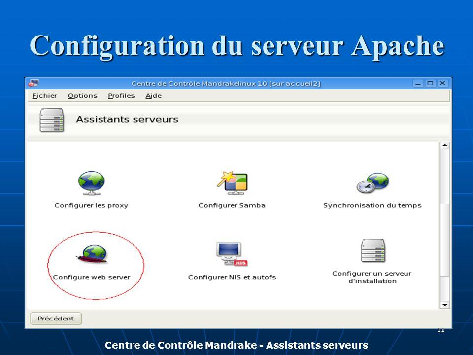 Configuration du serveur Apache Centre de Contrôle Mandrake - Assistants serveurs 11