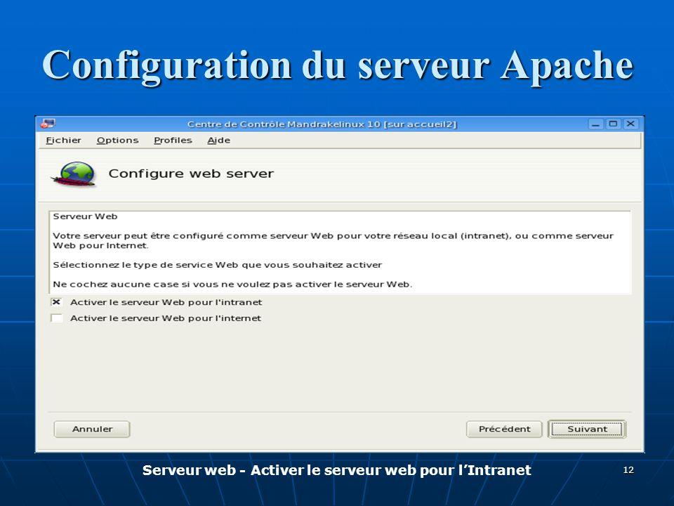 Configuration du serveur Apache Serveur web - Activer le serveur web pour l'Intranet 12
