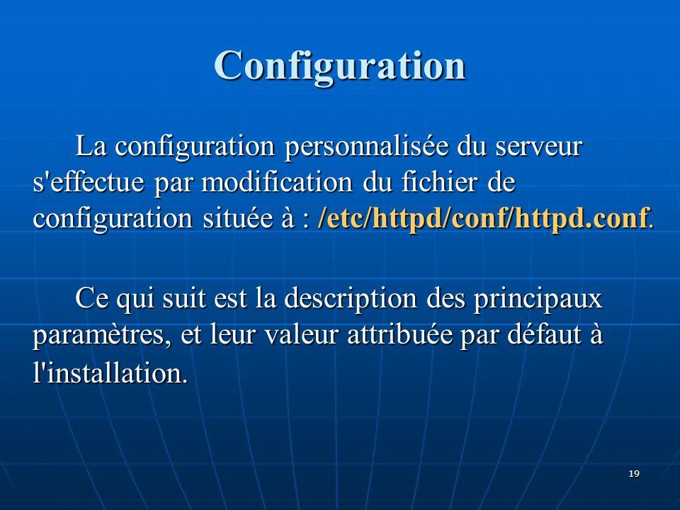 Configuration La configuration personnalisée du serveur s'effectue par modification du fichier de configuration située à : /etc/httpd/conf/httpd.conf.