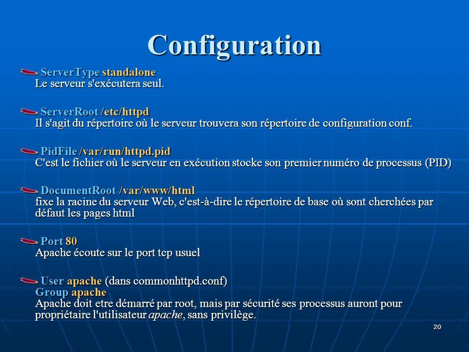 Configuration ServerType standalone Le serveur s'exécutera seul. ServerRoot /etc/httpd Il s'agit du répertoire où le serveur trouvera son répertoire d