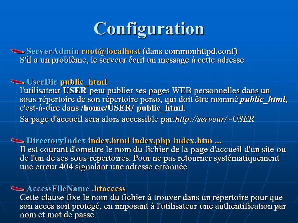 Configuration ServerAdmin root@localhost (dans commonhttpd.conf) S'il a un problème, le serveur écrit un message à cette adresse UserDir public_html l