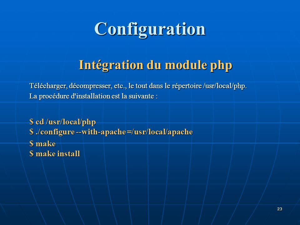 Configuration Intégration du module php Télécharger, décompresser, etc., le tout dans le répertoire /usr/local/php. La procédure d'installation est la