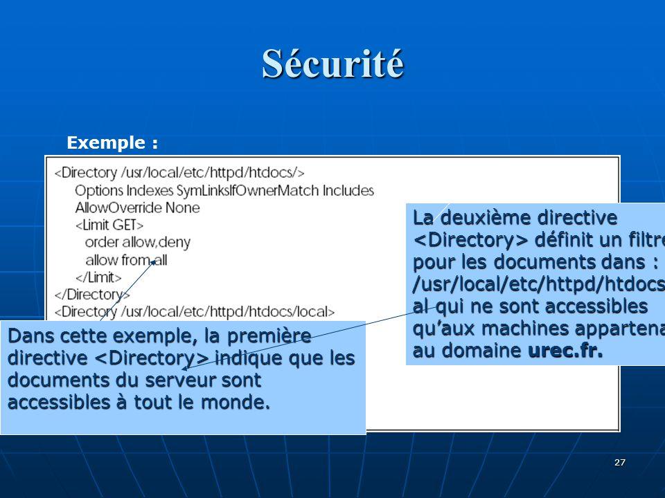 Sécurité Exemple : Dans cette exemple, la première directive indique que les documents du serveur sont accessibles à tout le monde. La deuxième direct