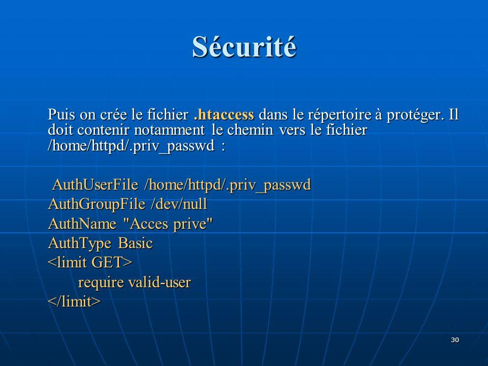 Sécurité Puis on crée le fichier.htaccess dans le répertoire à protéger. Il doit contenir notamment le chemin vers le fichier /home/httpd/.priv_passwd