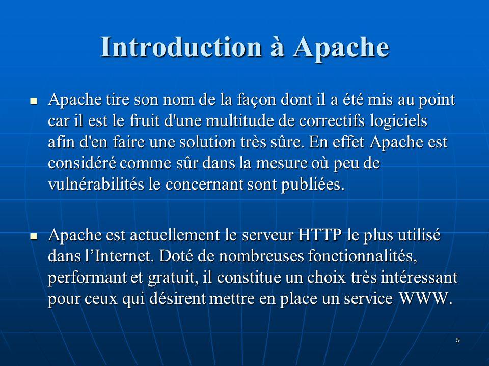 Introduction à Apache Apache tire son nom de la façon dont il a été mis au point car il est le fruit d une multitude de correctifs logiciels afin d en faire une solution très sûre.