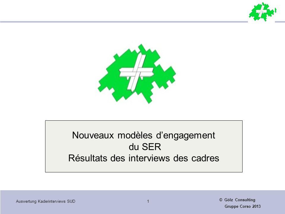 Auswertung Kaderinterviews SUD1 © Gölz Consulting Gruppe Corso 2013 Nouveaux modèles d'engagement du SER Résultats des interviews des cadres